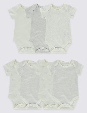7 Pack Pure Cotton Flat Seams Bodysuits