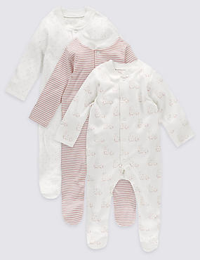 3 Pack Sleepsuits (1 Months - 3 Years)