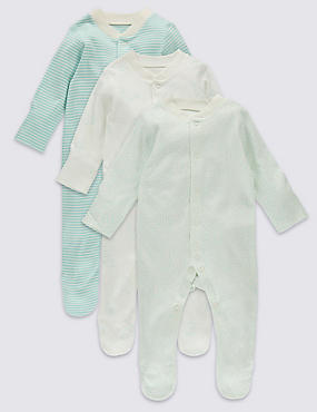 3 Pack Pure Cotton Baby Sleepsuits (0-3 Years)
