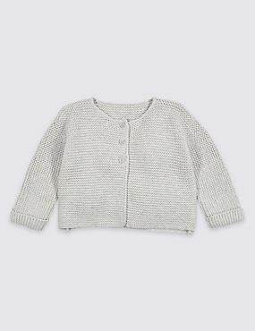 Pure Cotton Lightweight Knitted Cardigan, GREY MARL, catlanding
