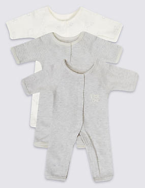 3 Pack Premature Pure Cotton Sleepsuits, PINK MIX, catlanding