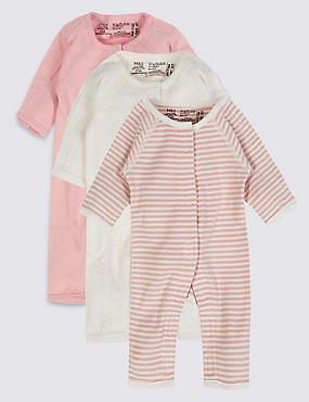3 Pack Girls Premature Sleepsuits