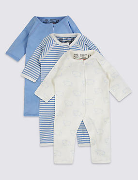 3 Pack Premature Pure Cotton Sleepsuits, BLUE MIX, catlanding