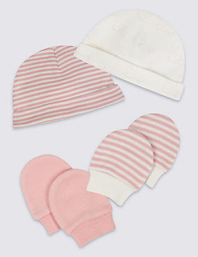 4 Piece Pure Cotton Premature Hat & Mittens Set, PINK MIX, catlanding