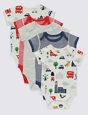 5 Pack London Print Cotton Bodysuits