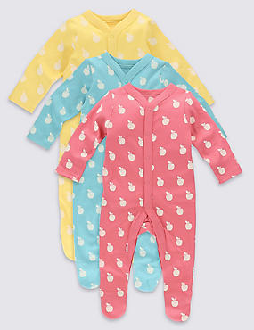 3 Pack Apple Print Cotton Sleepsuits