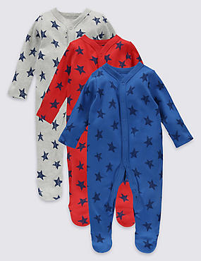 3 Pack Star Print Cotton Sleepsuits