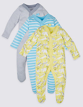 3 Pack Safari Animal Print Cotton Sleepsuits
