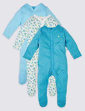 3 Pack Floral Cotton Sleepsuits