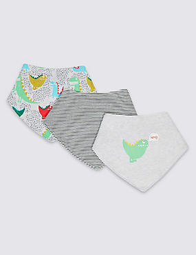 3 Pack Pure Cotton Baby Dribble Bibs