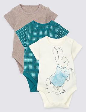 3 Pack Pure Cotton Peter Rabbit™ Bodysuits