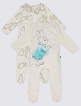 2 Pack Peter Rabbit™ Pure Cotton Sleepsuits