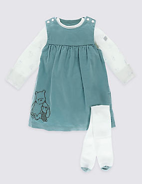 Winnie The Pooh Cord Pinny & Bodysuit with Tights