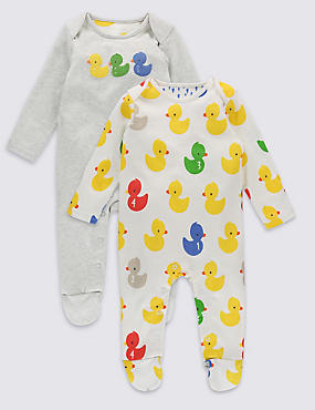 2 Pack Bath Time Duck Sleepsuits