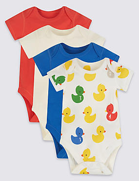 4 Pack Unisex Pure Cotton Bodysuits