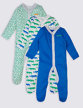 3 Pack Croc Print Cotton Sleepsuits