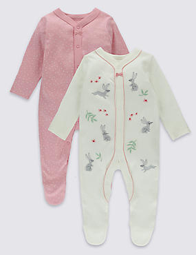 2 Pack Embroidered Bunny Cotton Sleepsuits