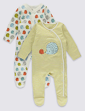 2 Pack Hedgehog Cotton Sleepsuits