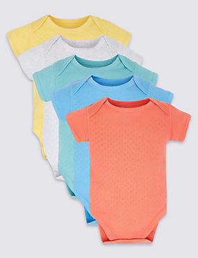 5 Pack Pure Cotton Flat Seams Bodysuits