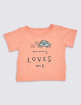 Pure Cotton Mummy Loves Me Short Sleeve Top