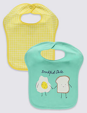 2 Pack Pure Cotton Breakfast Square Bibs