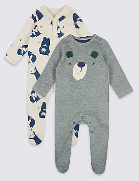 2 Pack Pure Cotton Animal Applique Sleepsuits