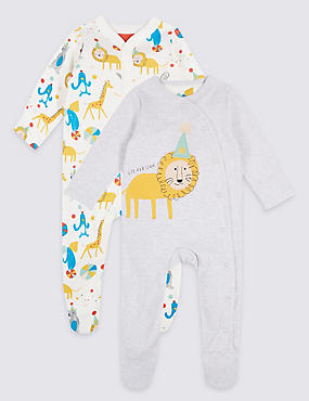 2 Pack Unisex Pure Cotton Sleepsuits