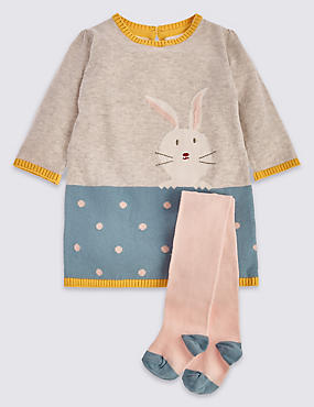 2 Piece Knitted Bunny Dress Outfit