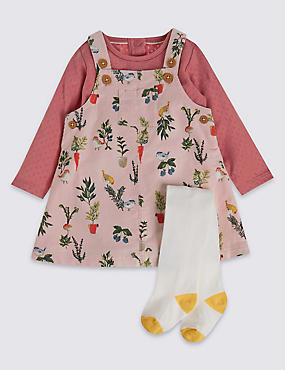 3 Piece Cord All Over Print Pinny and Bodysuit with Tights