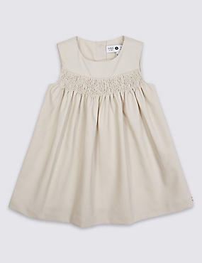 Girls Cotton Textured Woven Pinny with Stretch (3 Months - 5 Years)