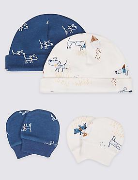 4 Piece Premature Hat & Mittens Set, BLUE MIX, catlanding