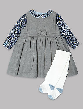 3 Piece Pure Cotton Dress with Tights