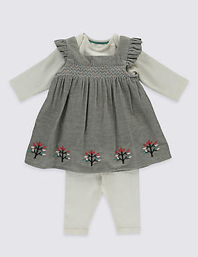 3 Piece Pure Cotton Smocked Pinny Dress
