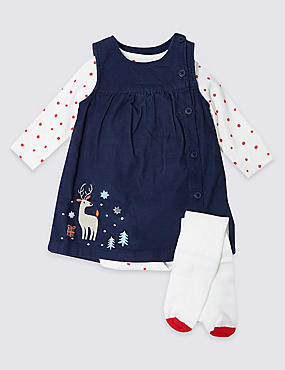 3 Piece Cord Christmas Reindeer Dress Outfit