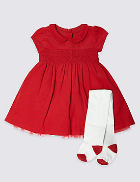 2 Piece Christmas Cord Dress with Tights