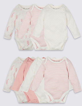 7 Pack Girls Rabbit Skin Kind™ Long Sleeve Bodysuits