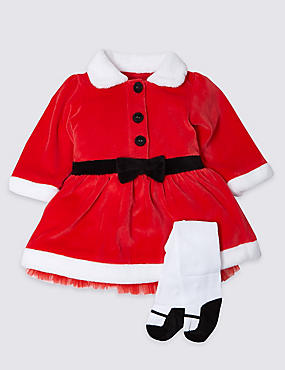 Mrs Santa Velour Christmas Dress and Tights