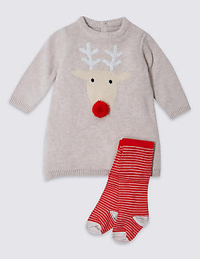 2 Piece Reindeer Knitted Dress Outfit