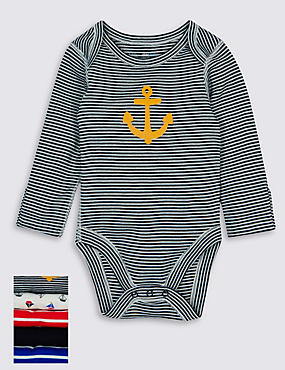 5 Pack Nautical Themed Skin Kind™ Boys Long Sleeve Bodysuits