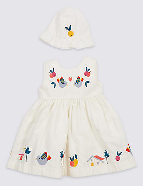 Pure Cotton Embroidered Dress with Hat