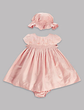 3 Piece Pure Cotton Smocked Dress with Knickers and Hat