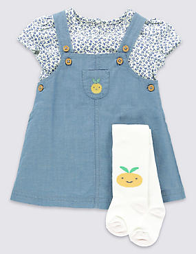 3 Piece Pure Cotton Chambray Pinny Outfits