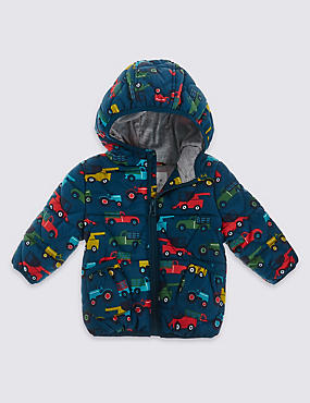 Car Print Hooded Coat