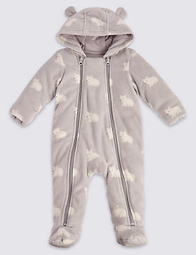 Unisex Bear Animal Print Pramsuit
