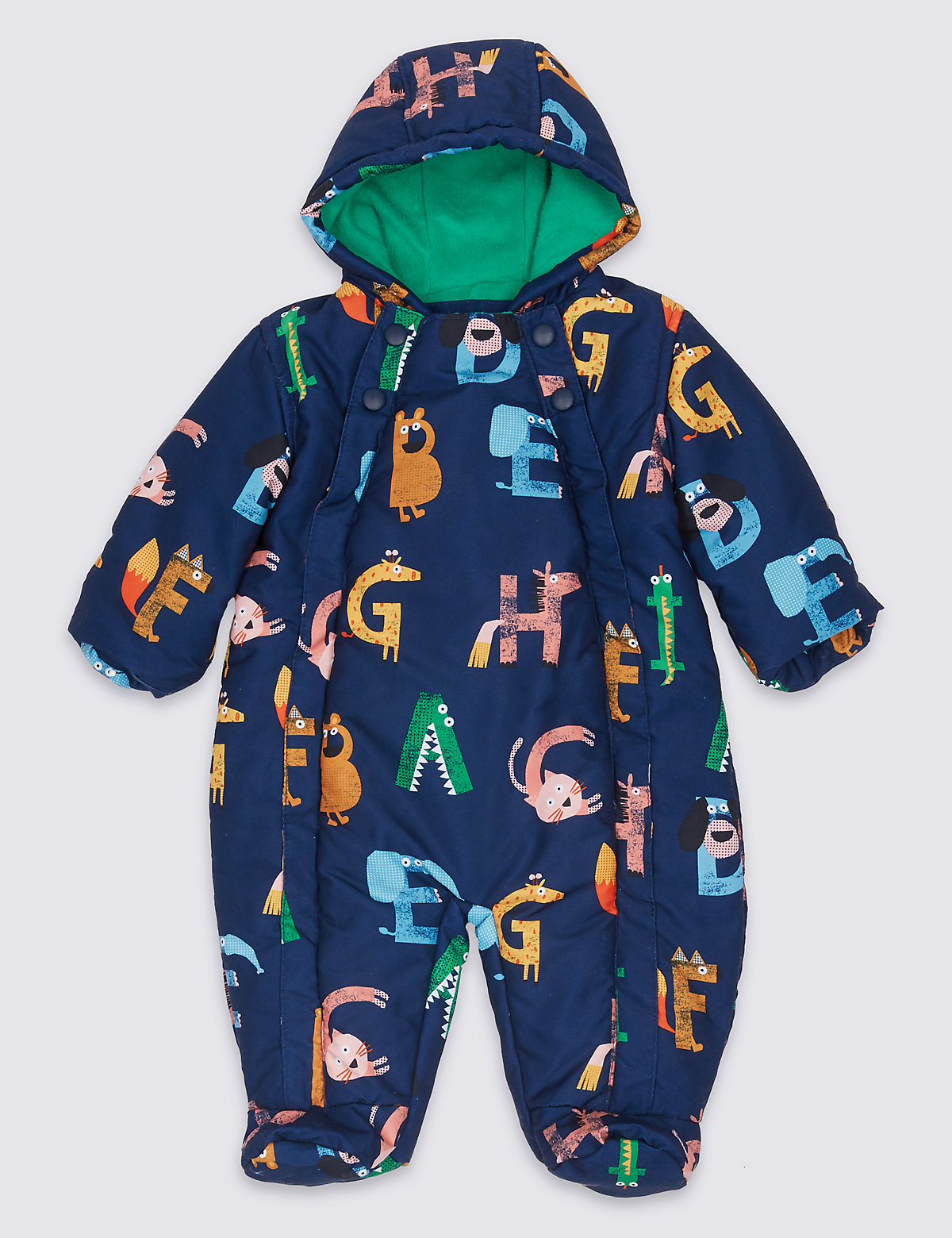 letter print snowsuit with