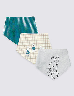 3 Pack Pure Cotton Peter Rabbit™ Dribble Bibs, KINGFISHER, catlanding