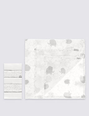 2 Pack Elephant Print with 3 Pack Plain White Muslin Squares