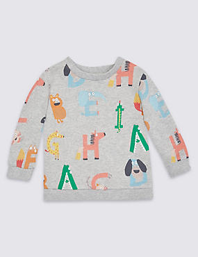 Pure Cotton All Over Print Sweatshirt