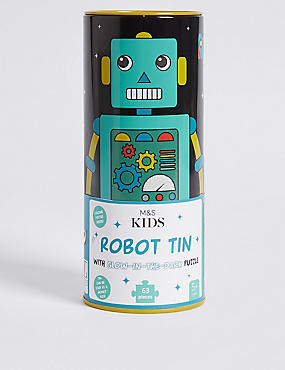 Robot Tin with Glow-In-The-Dark Puzzle