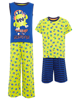 2 Pack Pure Cotton Monster Pyjamas (1-7 Years) Clothing
